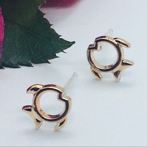 Dainty Gold Colored Fish Stud Earings